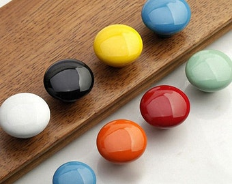 Colorful Cabinet Knobs / Dresser Knobs Drawer Pulls Knob Handles / Kids Childrens Drawer Knobs / Colorful Orange Yellow Red Ceramic Hardware