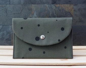 green black polka dot snap wallet, canvas wallet, purse, de almeida designs, screen print wallet screenprint