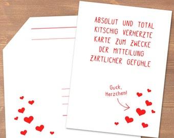 Karte zur Mitteilung zärtlicher Gefühle mit Herz-Konfetti & Herz-Luftballon // recycling Papier / Liebe / Valentinstag