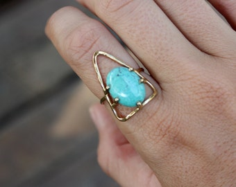 Bold & Gold - Adventure Seeker Turquoise Triangle Ring