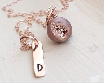 Rose Gold Initial Bar Necklace Druzy Agate Monogram Name Gift for Mom Teen Bridesmaid Bridal Personalized Unique Rose Gold Jewelry