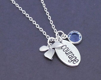 Courage Necklace, Graduation Necklace, Courage Jewelry, Inspirational Pendant, Word Jewelry, Crystal Birthstone Charm, Antique Silver