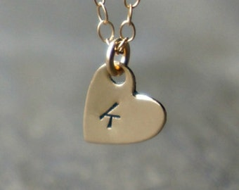 Tiny Monogrammed Heart Necklace ... Small 14k Gold Heart with lowercase letter of your choice on a Gold - Filled Chain