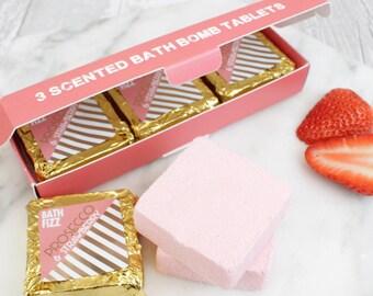 Prosecco & Strawberry Fizzing Bath Bomb Tablets, Strawberry, Fizz, Champagne, Pink