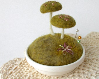 Mossy Floral Mushrooms Pincushion Nature Scene Made To Order