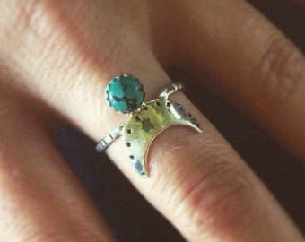 Crescent Moon Turquoise Ring Moon Jewelry Taurus Jewelry Boho Jewelry Recycled Silver Celestial Jewelry Modern Festival Jewelry Astrological