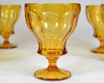 6 Weingläser, Bernstein Glas, Gläser, Italien