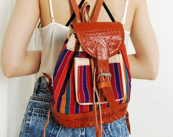 Vintage 90s Leather Kilim Backpack