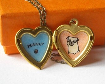 Pug Necklace with Personalized Name - Hand Painted Pug Locket -  Customized Dog Jewelry