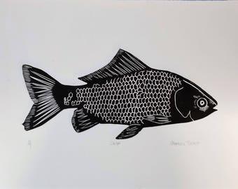 "Limited Edition Lino Print of a Fish ""Carp"""