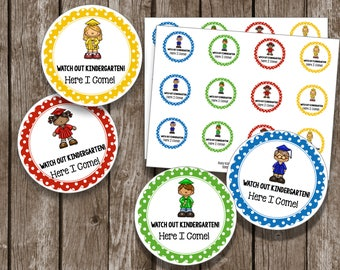 50% OFF SALE - Preschool Pre-K Graduation Cupcake Toppers - Favor Tags - Round Tags - Printable Instant Download