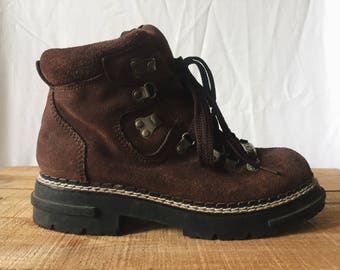 Vintage Suede Leather Hiking Boots - Ladies Mens Unisex Ankle Boot - Dark Brown - Combat Walking Work Booties - 90s Grunge Chunky Sole