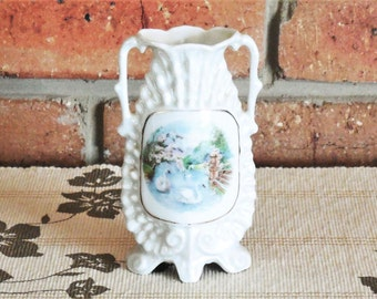 Victoria Czecho-Slovakia Art Nouveau scenic small shell lustreware porcelain bud posy vase twin handles, early 1900s