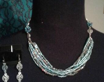 Aqua Glass Bead and Filigree Necklace & Earring Set