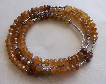 "Caramel Tourmaline Gemstone Wrap Bracelet Necklace ~ Thai Hill Tribe Fine Sterling Silver ~ Long 21"" ~ Faceted Rondelle Beads"