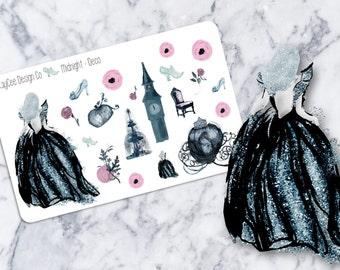 Midnight Princess Deco / Planner Stickers / Scrapbook /  Fits Erin Condren & MAMBI / Kikki K / FiloFax