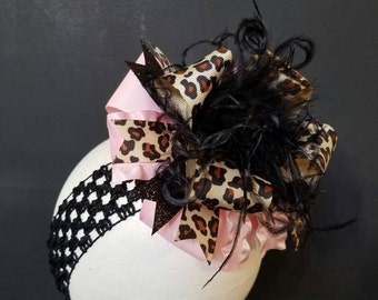 Pink & Leopard Over The Top Boutique Hairbow Ostrich Feather
