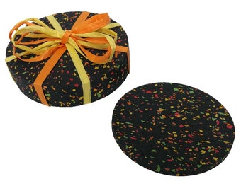 SET OF 4 - Recycled Tire Rubber Coasters
