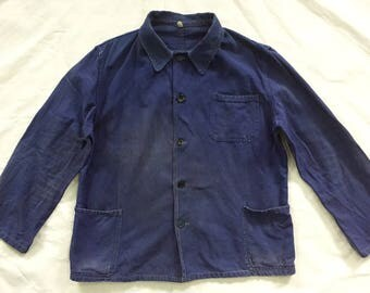 Vintage French Work Jacket Fade Nice Patina Repair Blue Indigo Workwear