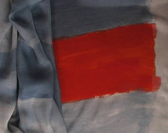 Gray hand painted silk shawl. Long scarf for woman. Luxury accessory. Abstract art. Modern fashion. Beautiful art to wear. Pop art scarf
