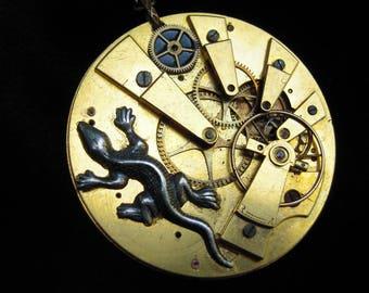 "Salamander Saltire salamander steampunk mechanism gusset LIZARD""lizard watch mechanism salamander necklace antique ref 499"