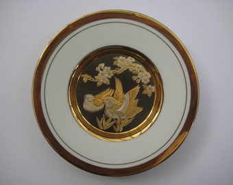 Vintage Japanese art of choking small decorative plate, ducks on the pond, 24KT Gold