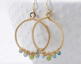 Multi Gemstone Hoop Earrings, Blue Green, Hoop Earrings, 14k Gold Filled, Free Shipping