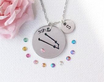 Taurus star sign, birthstone necklace, taurus constallation, taurus starsign, taurus star sign, taurus jewellery,taurus gift SPCRYTAUR1