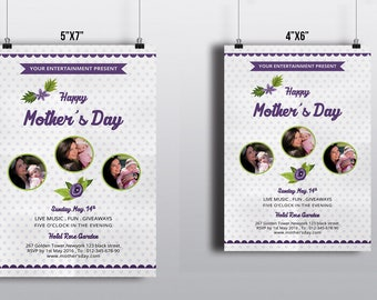 Mother's Day Flyer Template | Mother's Day Invitation | Photoshop, Elements & Microsoft Word Template | Instant Download