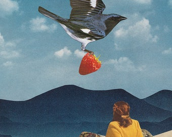 """Collage Art, Surreal Art, Archival Print, Home Decor - """"Carry"""""""
