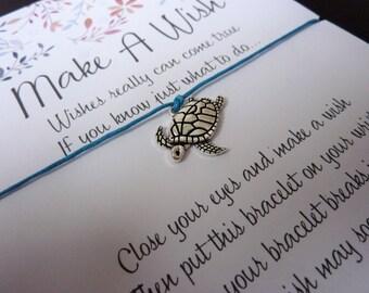Wish Bracelet - Sea Turtle / Sealife Bracelet / Wildlife Gift / Ocean / Surfer / Lucky Turtle / Choice of Colours / Wish Knots