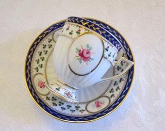 Vintage Footed Pink Rose Cobalt Blue Gold Trim Porcelain Tea Cup and Saucer from China