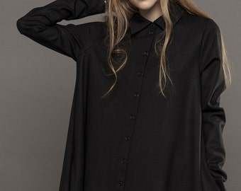 Asymmetric dress / Asymmetric black dress / Shirt dress / Asymmetric shirt dress / Collar shirt dress / Black shirt dress