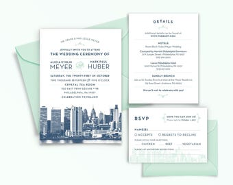 Philadelphia, Pennsylvania City Skyline 5-Piece Wedding Invitation Package