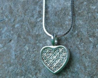 Vintage Sterling Silver CZ Encrusted Love Heart Shaped Pendant Necklace