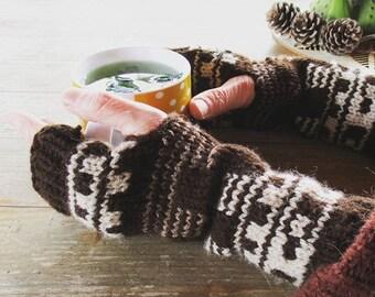 Fingerless gloves | Mittens | Long Arm Warmers | Wool Arm Warmers | Gloves | Handmade | Wrist warmers
