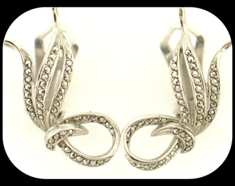 Vintage W. GERMANY Signed Sterling Silver & Marcasite Clip On EARRINGS.