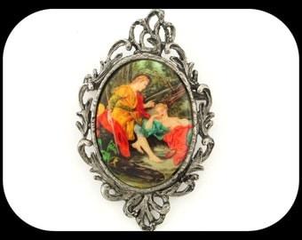 Vintage Huge Unsigned Renaissance Scene Porcelain Filigree Silver Plated BROOCH / PENDANT