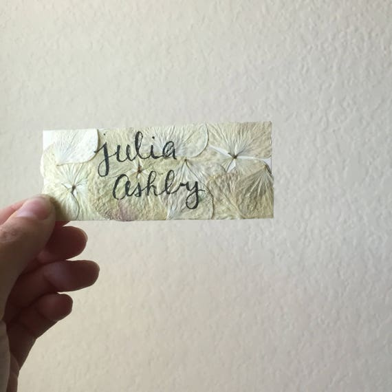 Floral Place Cards- Custom Name Cards- Hydrangea Petal Place Cards- Calligraphy Place Cards- Botanical Wedding- Flower Inspired Baby Shower