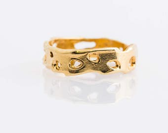 gold plated band, handmade, for her and for him
