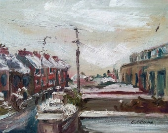 Original Plein-air Landscape Painting, Snowy Streetscape, Ireland, Oil on canvas board 16x12in