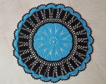Crochet Doily Round Houseware Home Decor Blue Turquoise Black centerpiece Table decor