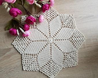 Crochet Round Cream White Doily Centerpiece Crochet Home Decor Crochet Table Decor made in Lithuania