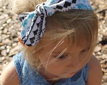 Blue Reindeer Top Knot- headband, Christmas accessories, christmas top knot, baby headband, toddler headband, girl headband, adult headband