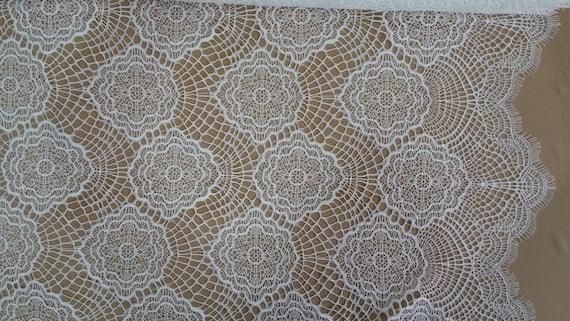 Ivory lace fabric, Evening dress lace, Gorgeous Ivory alencon Lace Fabric