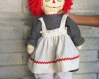 Vintage Handmade 24 Inch Raggedy Ann Doll, Raggedy Ann Doll, Rageddy Ann doll, Rag doll