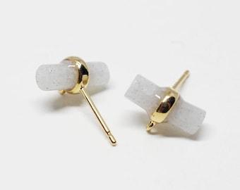 E0137/Anti-Tarnished Gold Plating Over Brass+Labradorite/Cylinder Glass Stud Earring/11X16mm/2pcs