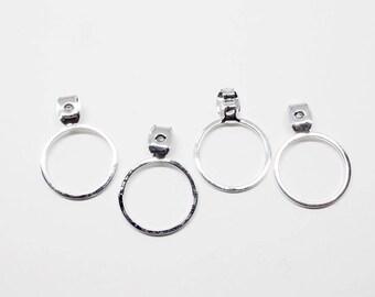 E0145/Anti-Tarnished Rhodium Plating Over Brass/15mm Circle Earring Back Clutch/15mm/4pcs