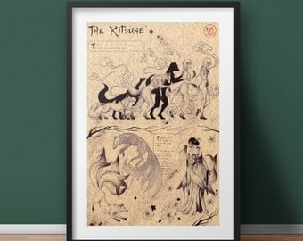 Large - Kitsune - Japan Mythology Art Print