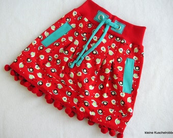 Skirt, skirt, Sweatrock, Gr. 104/110, snails, Red